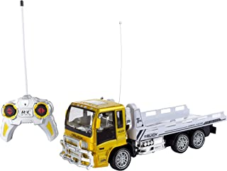 Hey! Play! Remote Control Flatbed Truck– 4 Channel Fully Functional Rc Tractor Trailer with Lights & Sound, Transporting Toy for Kids