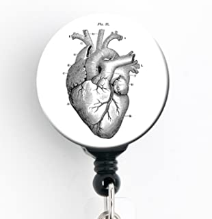 Vintage Heart - Retractable Badge Reel with Swivel Clip and Extra-Long 34 inch Cord - Badge Holder/Cardiology/Cardiologist/CCU