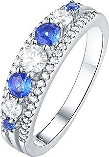 Newshe Eternity خواتم زفاف للنساء خواتم الفضة الاسترليني جولة الأزرق الياقوت 5 مم تشيكوسلوفاكيا الحجم 5-10