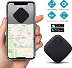 Key Finder Smart Tracker - Key Finder Locator for Phone Wallet Backpack Luggage - Bluetooth GPS Tracker Device with App for iPhone Android - Replaceable Battery Anti-Lost Item Finder (Black)