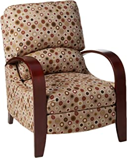 Madison Park Archdale Recliner Chair-Solid Wood, Plywood, Deep Seat Accent Armchair Modern Classic Dotted Style Family Room Sofa Furniture, See below, Red