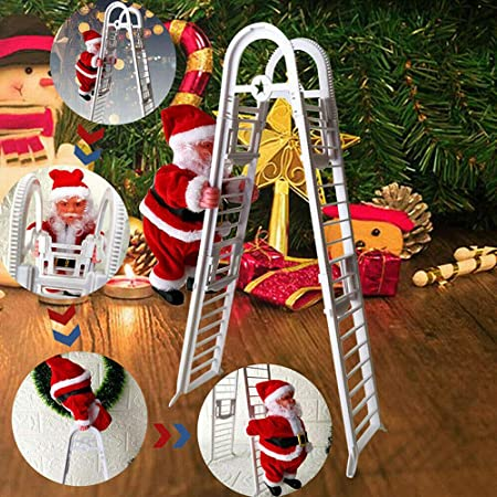 WELLXUNK Papá Noel en la Escalera,Escalera de Escalada eléctrica para Papá Noel,Campanas Musicales eléctricas Escalera de Escalada Juguete de Papá ...