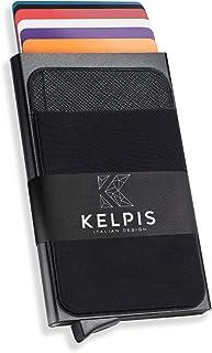 KELPIS Porta Carte Di Credito Schermato Blocco RFID Mini Portafoglio Uomo E Donna Slim In Alluminio Nero Sottile Minimal P...