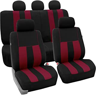 FH Group FH-FB036115 Striking Striped Seat Covers Airbag & Split Ready, Burgundy/Black Color- Fit Most Car, Truck, SUV, or Van