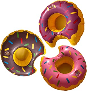 Inflatable Drink Holder 3 pc/Set DonutsFloating Cup Holder Coasters Doughnut Flamingo Palm Tree for Pool Party Water Fun
