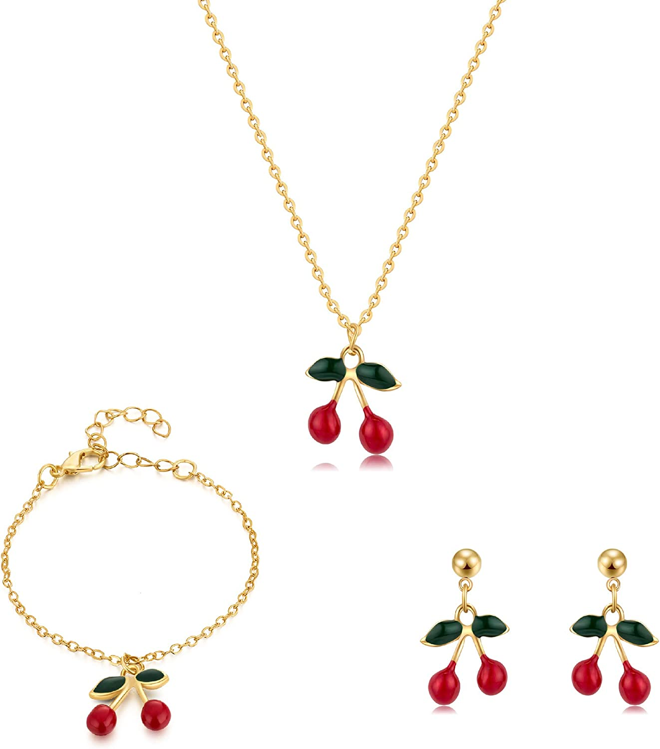 Buyless Fashion Girls And Women Cherry Jewelry Set Red Cherry Dangle Earrings Necklace And Bracelet