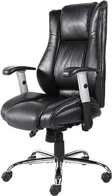 Smugdesk High Back Bonded Leather Executive Office Chair with Adjustable Backrest and Armrest, Black