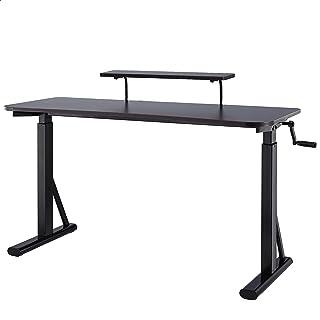 Amazon Basics Height-Adjustable Gaming Desk with Raised Monitor Shelf - Black