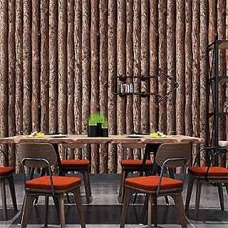Wallpaper 3D Imitation Wood Bark Trunk Roundwood Log Tree Pattern Cafe Bar Restaurant Background Wallpaper (Width 0.53M Length 10M) (Color : A)