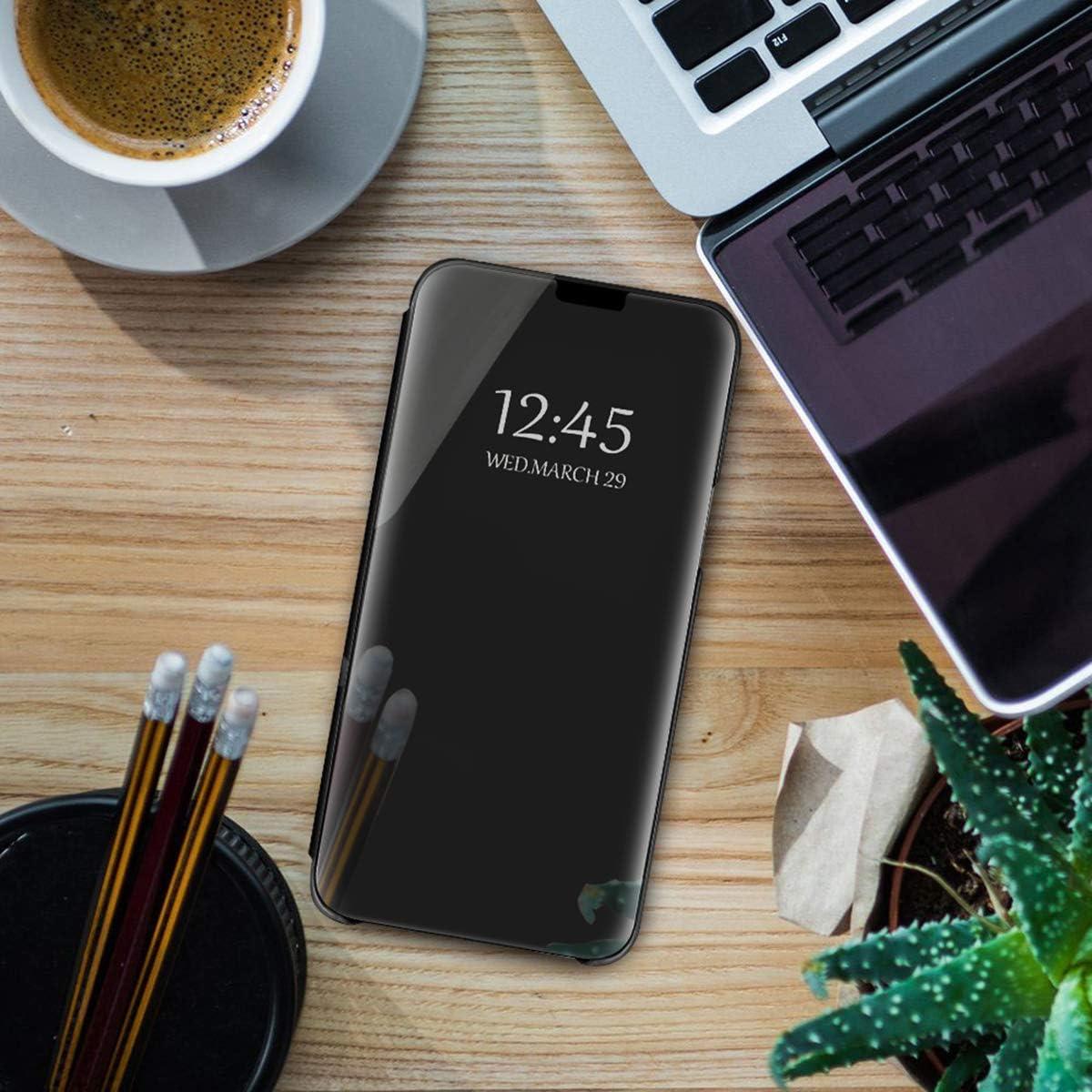 Antid/érapant Anti-chocs En cuir PU PC /Étui de protection Jeack compatible avec Samsung Galaxy A42 5G Avec support Anti-rayures Protection compl/ète /à 360 /° Argent/é