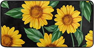 Kitchen Rug Sunflower Leave Pattern Door Mat Bath Rug Home Decor Floor Mat Non-Slip Carpet for Kitchen Living Bedroom 39 x...