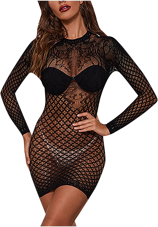 EseFGJK Women's Sexy See-Through Trust Sales Lingerie Long Sleeves U Fishnet