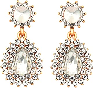 Crunchy Fashion Bollywood Style Party Wear White Crystal Dangle Earrings for Women & Girls