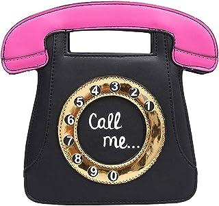 Bolsa de Cruzado Cuerpo de Mujer Retro en Forma de telefono Monedero Clutch de Cuero de PU Bolsa de Cadena (Negro + Rosado)