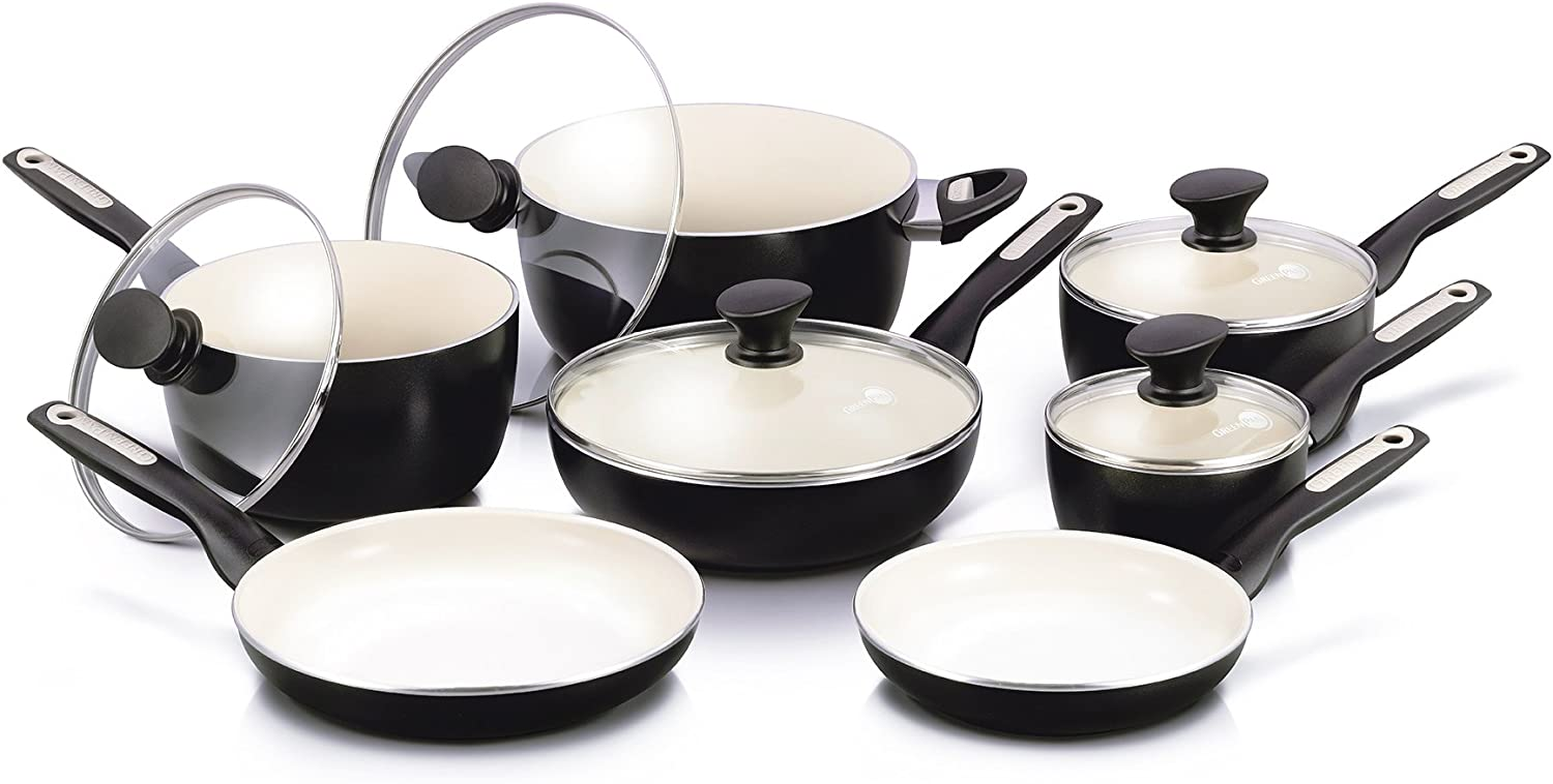 GreenPan Rio 12pc Ceramic Non-Stick Cookware Set, Black