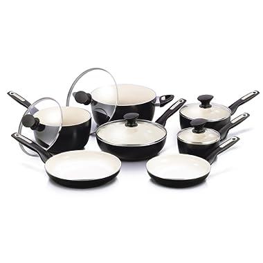 GreenPan Rio 12pc Ceramic Non-Stick Cookware Set, Black - CW0005535