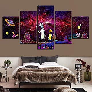 HSART Canvas Wall Art Prints Poster Modular Picture Home Decoration 5 Panel Rick and Morty Modern Paintings for Kid's Room,B(Frame),L