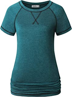 MOQIVGI Womens Yoga Workout Tops Long Sleeve Crew Neck Sports Fitness Shirts