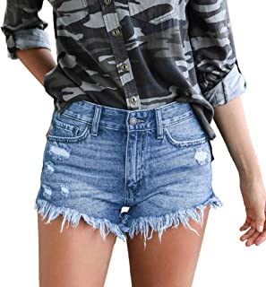 FEDULK Women's Mid Waist Jean Shorts Retro Frayed Raw Tassel Hemline Ripped Denim Short Pants Jeans