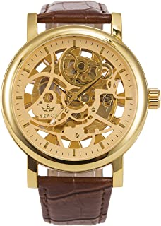 ManChDa Big Case 48MM XL Automatic Mechanical Wrist Watch Crystal Golden Leather Strap Valentines Gift