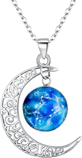 Women 925 Sterling Silver Horoscope Zodiac 12 Constellation Astrology Galaxy & Crescent Moon Glass Bead Pendant Necklace