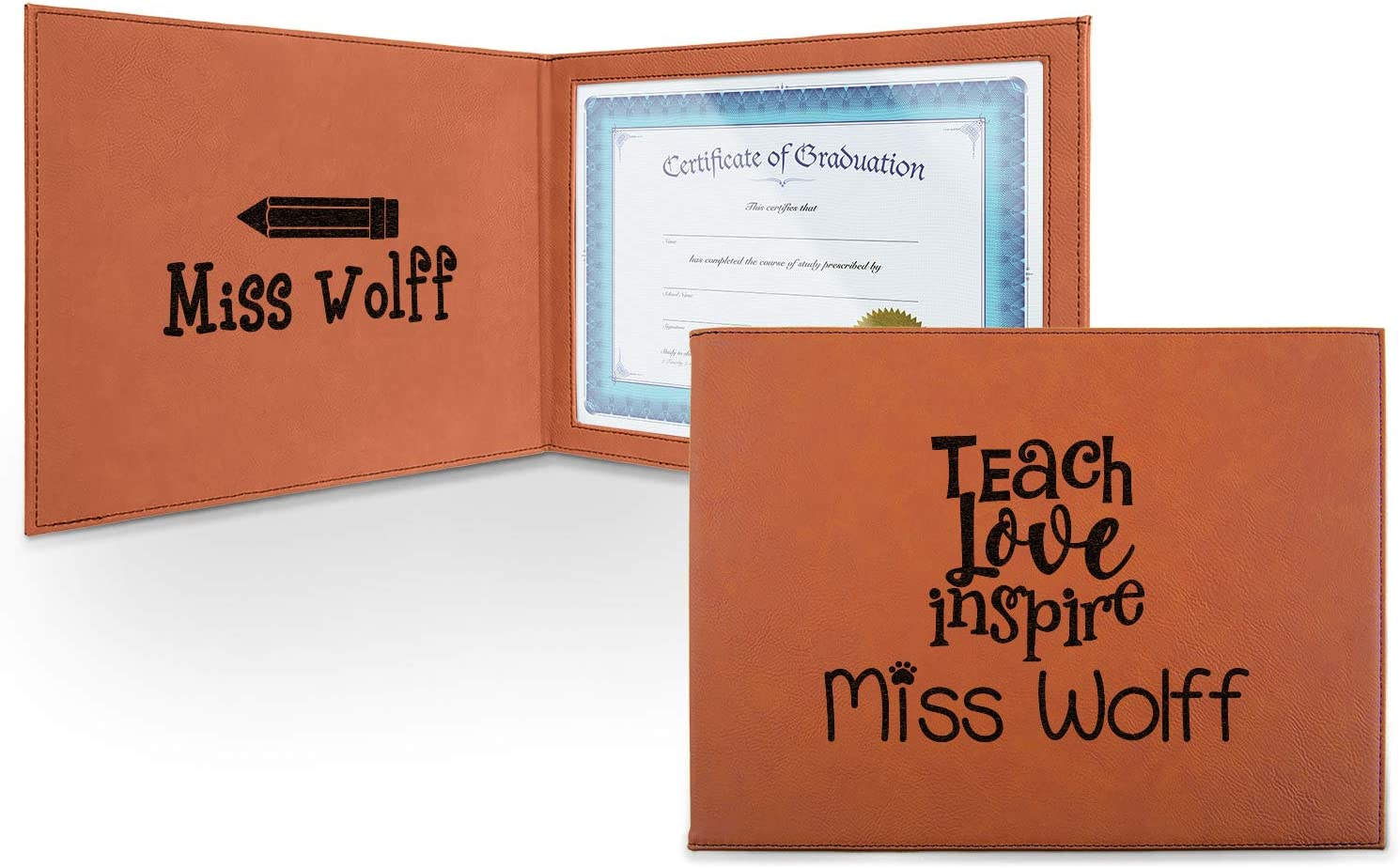 Teacher Attention brand Quote Leatherette Certificate Holder Inside - Direct store and Front