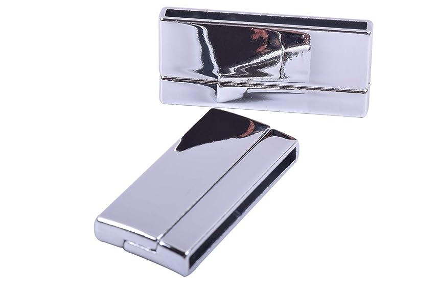KONMAY 3 Sets Magnetic Jewelry Clasps Rectangle Shaped, Shiny Rhodium, 40.0x3.0mm