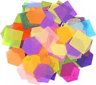Naler 6000pcs Papier de Soie Coloré, Assorties de Papier 5CM Hexagone Carré pour Origami Artisanat Scrapbooking, Bricolage...