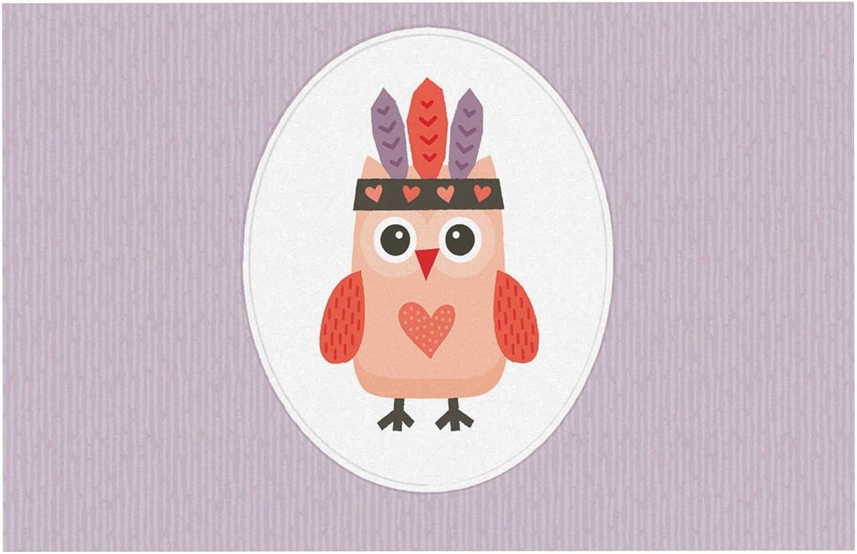 KESS InHouse DB1002ADM02 Daisy Beatrice Hipster Owlet Purple Dog Place Mat, 24  x 15