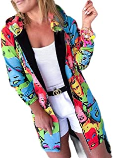 FSSE Womens Casual Long Sleeve Zip Front Print Loose Hoodie Sweatshirt Jacket