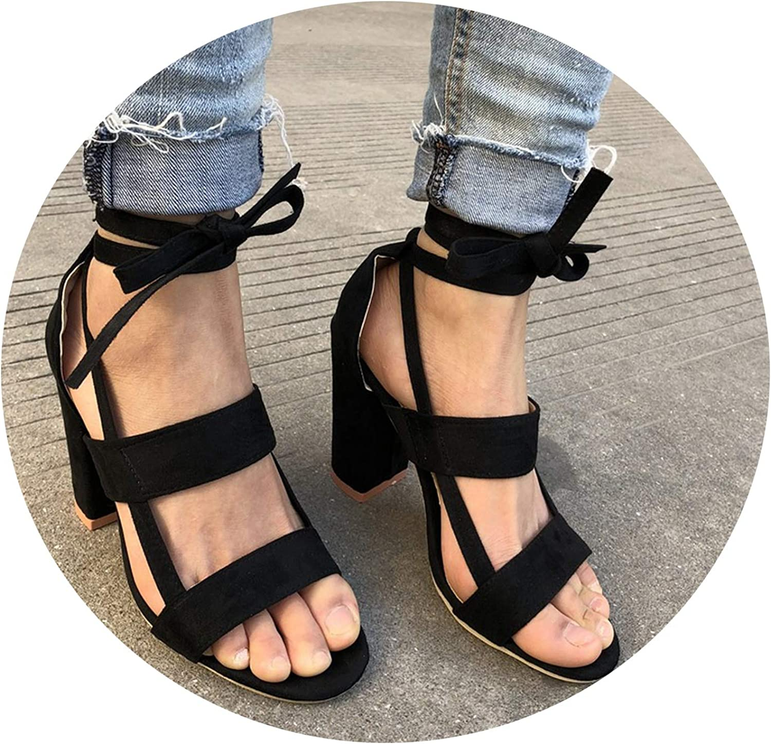 Plus Size Female Ankle Strap High Heels Flock shoes Thick Heel,Black-D2312,10.5,United States