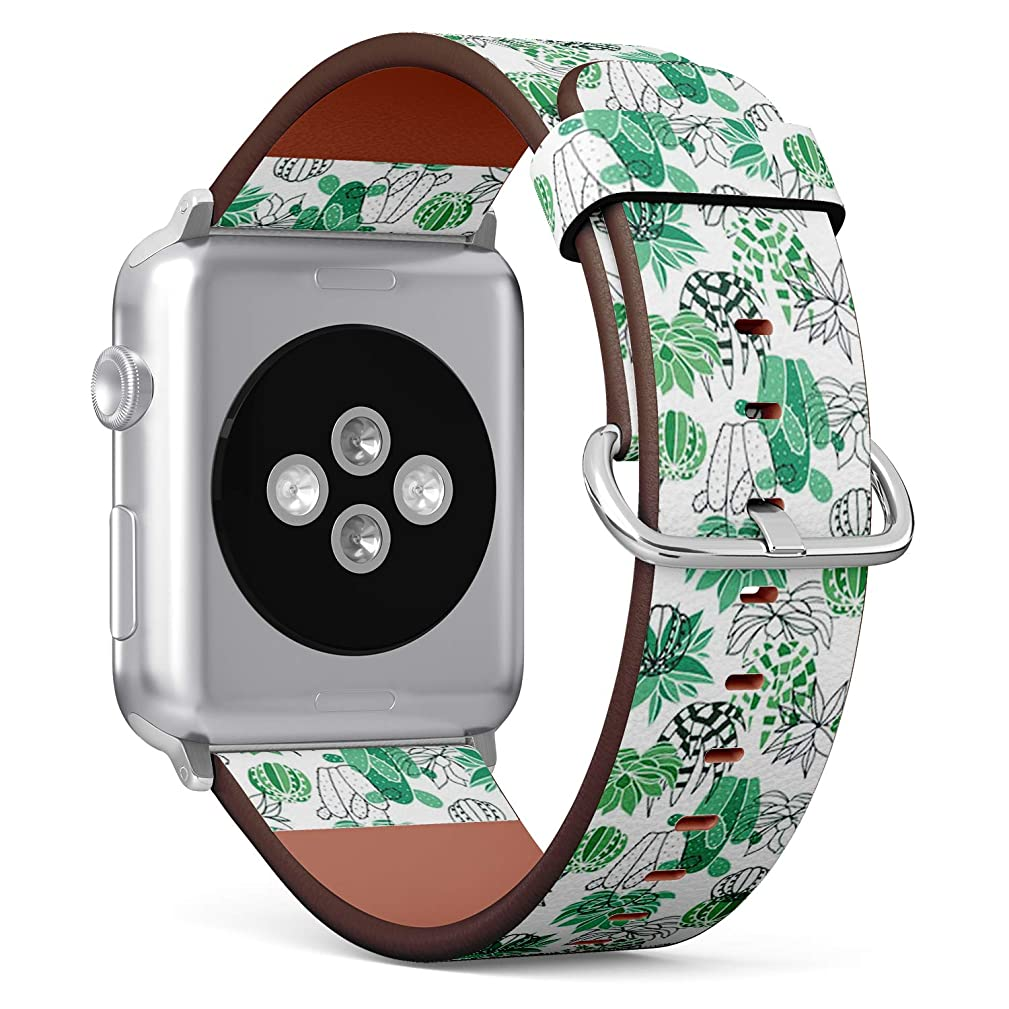 Compatible with Apple Watch (Small 38mm/40mm) Series 1,2,3,4 - Leather Band Bracelet Strap Wristband Replacement - Succulent Garden White
