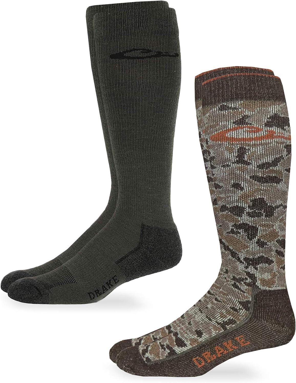 Drake mens Camo Merino Wool Ultra-dri Over the Calf Boot Socks 2 Pair