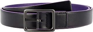 DUDU Cintura da Donna in Vera Pelle Made in Italy Bicolore Accorciabile H 24mm con Fibbia in Metallo Nero da 95 cm