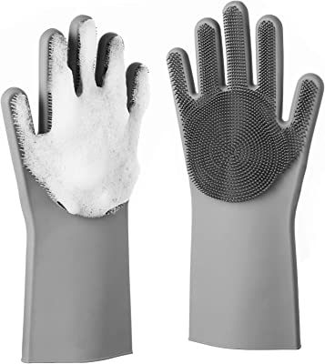 Jukkre Silicone Dishwashing Hand Gloves - Reusable & Heat Resistant Cleaning Rubber Mittens with Scrubber for Washing Dishes, Fruits, Vegetables   Suitable for Kitchen, Car, Bathroom & Pet Grooming