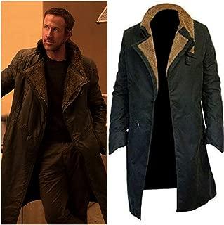 Blade Runner 2049 Officer K Rayan Gosling Lapel Fur Collar Trench Long Cotton Coat Black