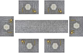 Bright Dream Table Runner and Placemats Set of 6 Kits Long Modern for Dinner Table Colorful Woven Vinyl Heat-resistand (1 Table Runner and 6 Placemats, Dimgray)