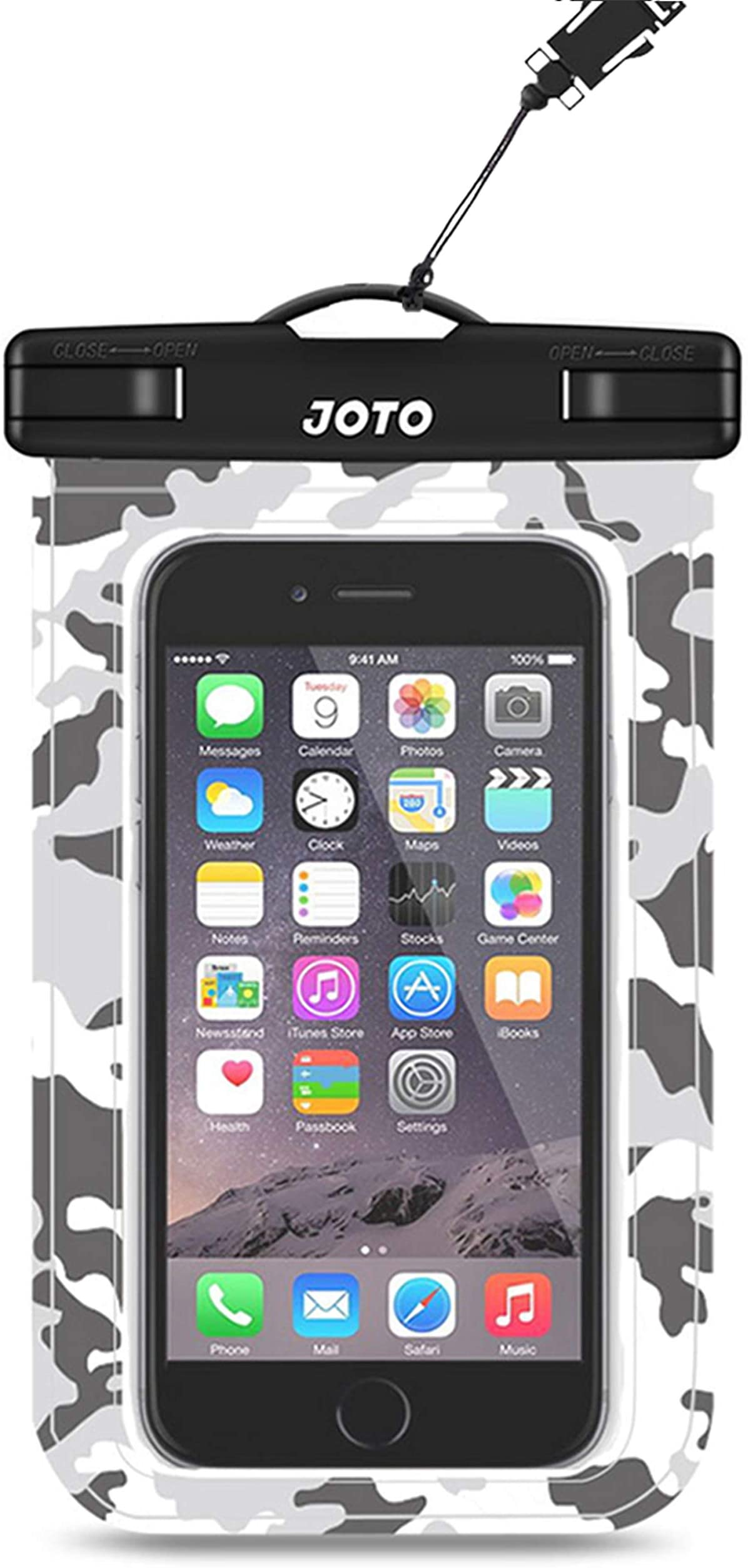 """JOTO Universal Waterproof Pouch Cellphone Dry Bag Case for iPhone 12 Pro Max 11 Pro Max Xs Max XR X 8 7 6S Plus SE, Galaxy S20 Ultra S20+ S10 Plus S10e /Note 10+ 9, Pixel 4 XL up to 6.9"""" -Grey Camo"""