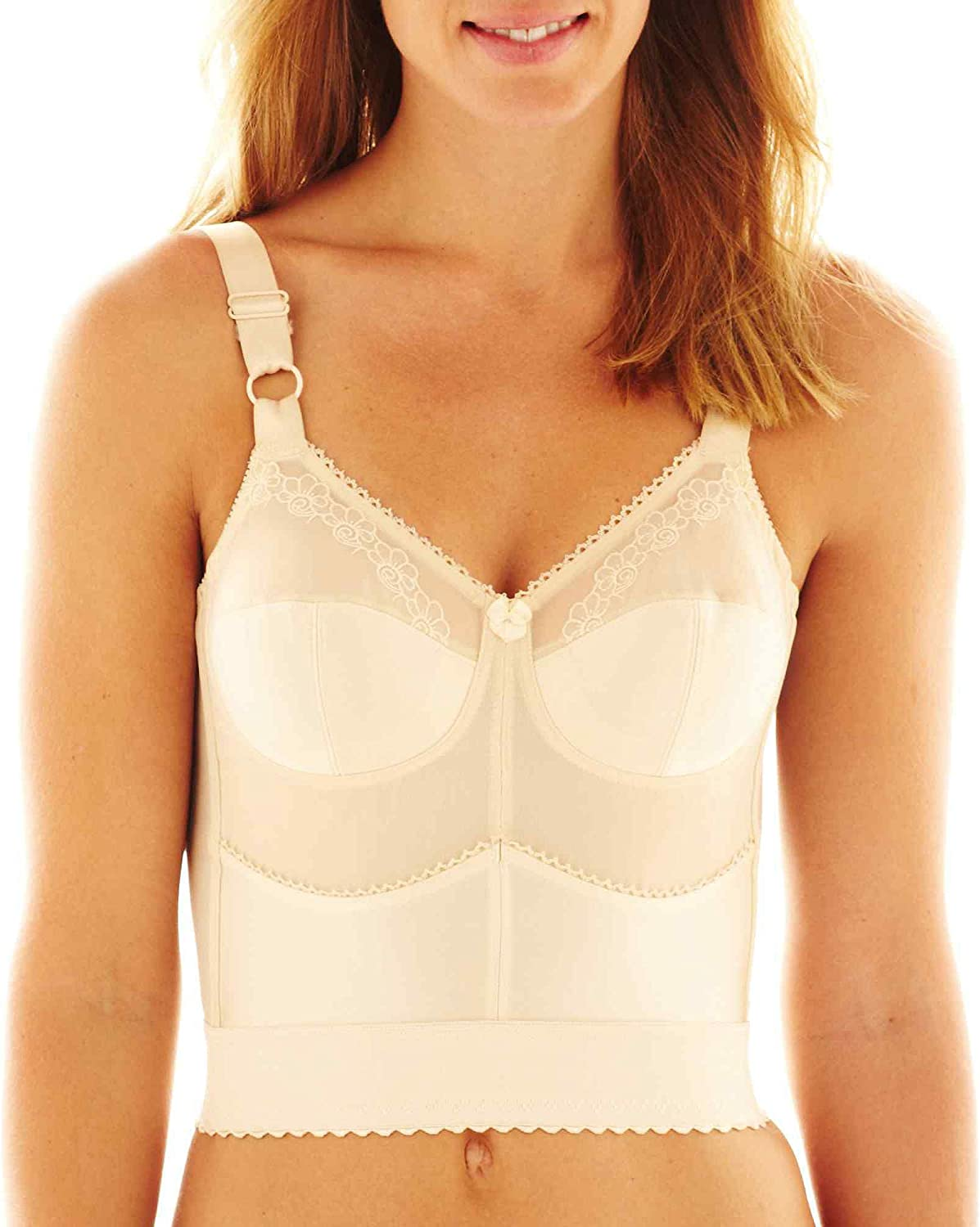 Cortland Intimates Style 7808  Embroidered Soft Cup Long Line Bra