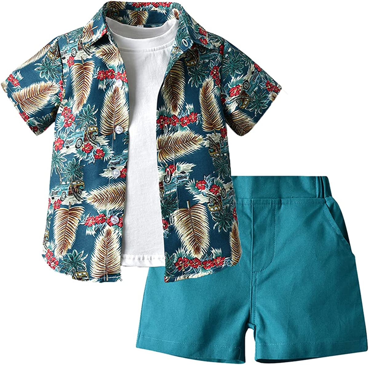 JunNeng Todder Classic Baby Boy Sale special price 3Pcs Hawaii Sets Clothes Inf Shorts