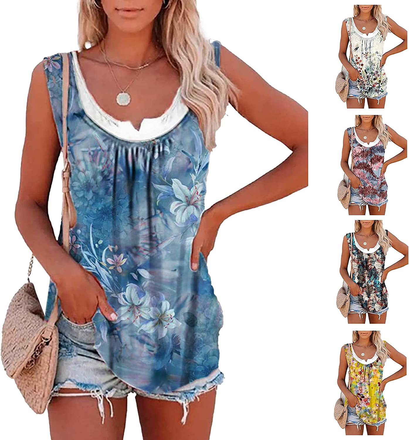 Bohemian Print Round Neck Casual top Loose T-Shirt Women Fashion Sleeveless Vest for Ladies