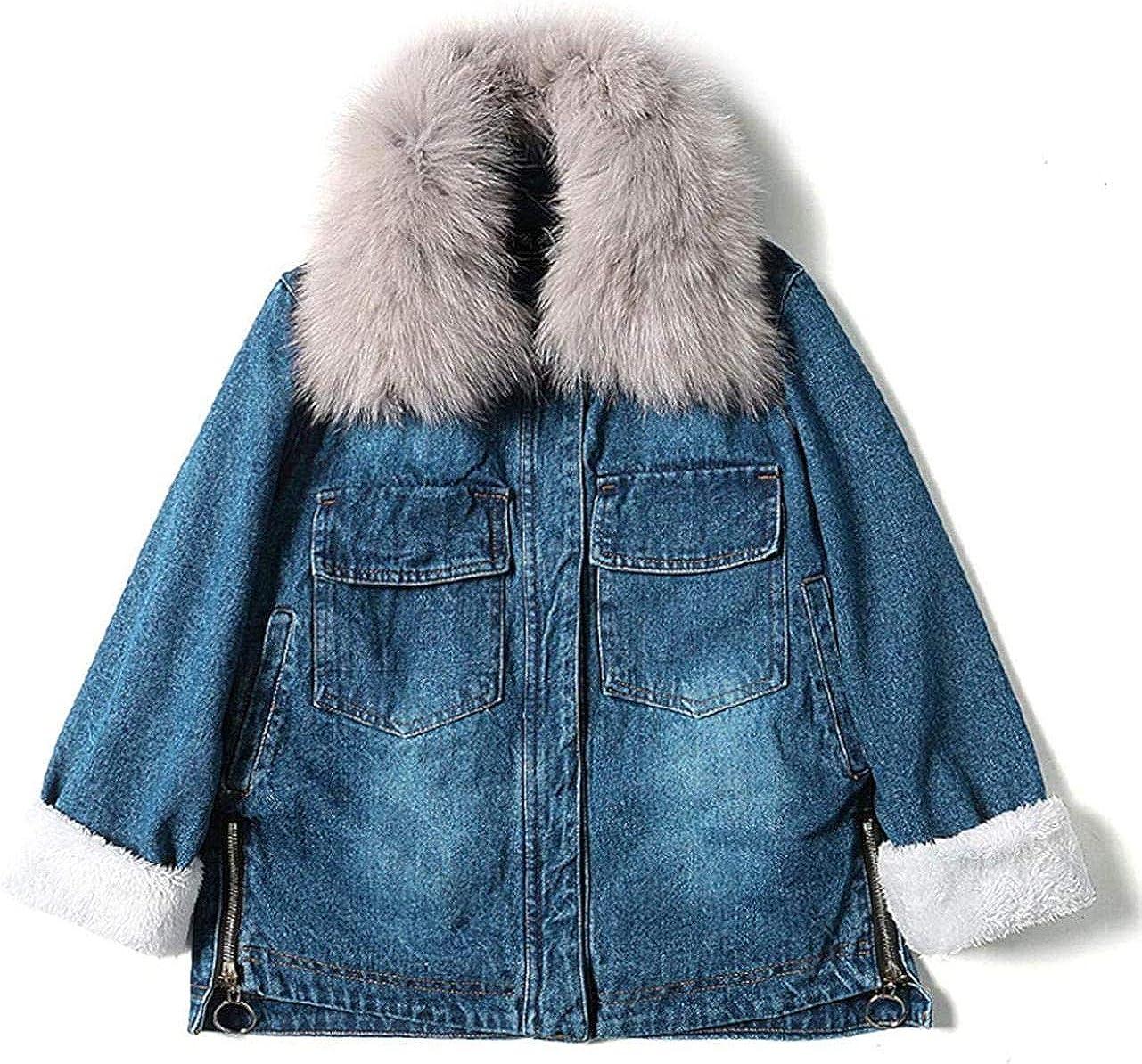 Women's Fashion Faux Fur Collar Fleece Lined Distressed Denim Jacket Coat