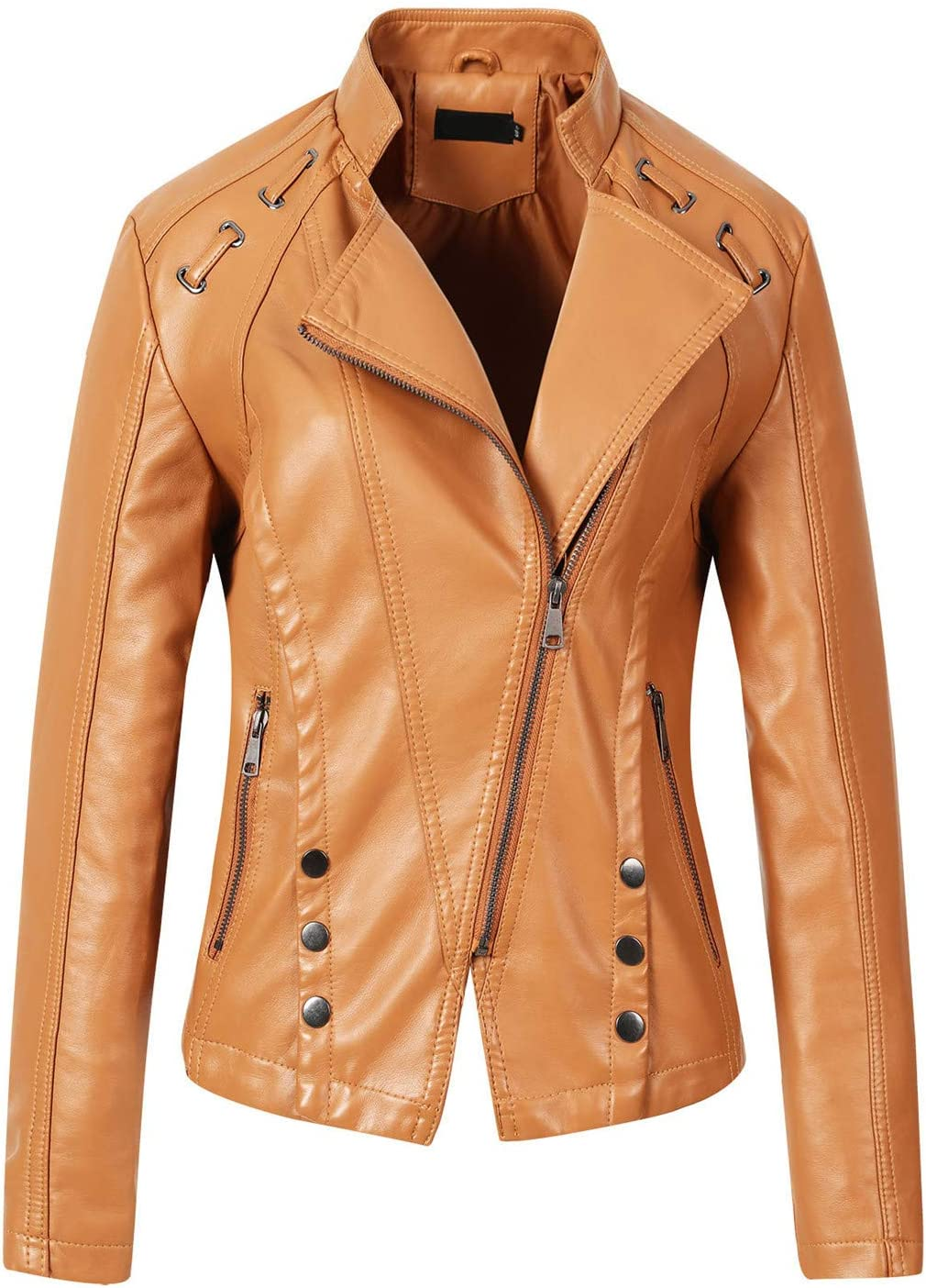 EverNight Women Faux Leather Casual Short Jacket,Slim Tailoring PU Short Biker Jacket,Studded Spring Fall Outwear,1,XL