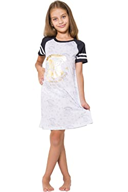 Harry Potter Girls' Big Hogwarts Short Sleeve Raglan Nightgown