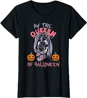 Womens Skull La Catrina Flowers Tattoo Design Mask Shirt Ladies T-Shirt