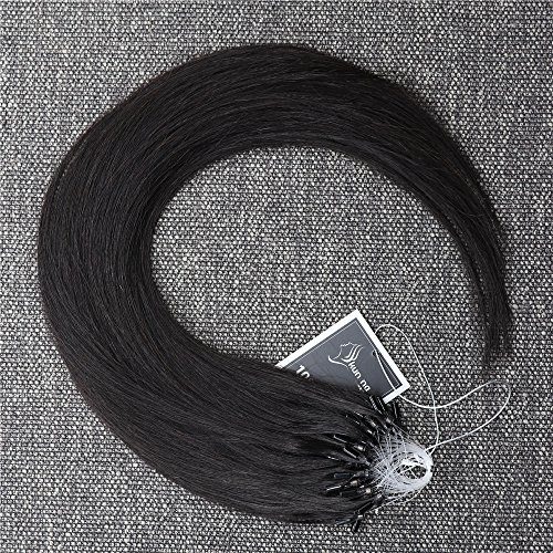 Top Quality 50cm 100% Brazilian Remy Natural Hair Extension 0.5g/s 100s 50g Easy Loop Micro Ring Hair Extensions (18 inch, 1B)