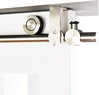 DIYHD 6.6 Foot Ceiling Mount Bracket Concentric Circle Roller Stainless Steel Sliding Barn Wood Door Track Hardware