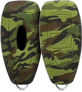 kwmobile Funda para Llave Keyless Go de 3 Botones para Coche Ford - Carcasa Protectora Suave de Silicona - Case de Mando de Auto con diseño Camouflage
