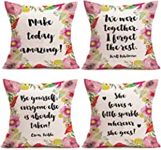 SmilyardInspirational Words Quote Pillow Cases Vintage Beautiful Flower Floral Decorative Throw Pillow Covers Decor Home Gift Cushion Cover Cotton Linen 18x18 Inch Pillowcase Set of 4 (BGQ Set)