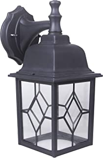 LIT-PaTH Outdoor LED Wall Lantern, Wall Sconce as Porch Light, 11W (100W Equivalent), 1000 Lumen, Aluminum Housing Plus Glass, Matte Black Finish, Outdoor Rated, ETL and ES Qualified
